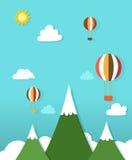 Paisaje de papel con los globos del aire caliente libre illustration