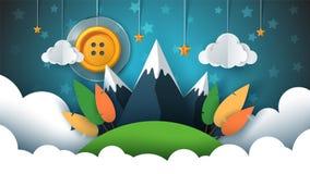 Paisaje de papel de la historieta Botón de costura, sol, estrella, nube, cielo, montaña, viaje ilustración del vector