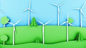 Paisaje de papel de la historieta con las turbinas de la energía eólica Concepto ecológico Animación realista 4K ilustración del vector