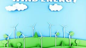 Paisaje de papel de la historieta con las turbinas de la energía eólica Concepto ecológico Animación realista 4K libre illustration