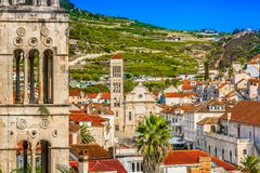 Paisaje de piedra de la arquitectura en Dalmacia, Hvar fotografía de archivo libre de regalías