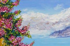 Paisaje de pintura de la pintura al óleo de la textura, arte del impresionismo Imágenes de archivo libres de regalías