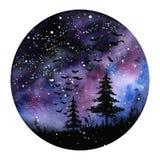 Paisaje de pintura del espacio de la aurora boreal del Watercolour Colores violetas, negros y azules Nuevo ejemplo redondo modern foto de archivo libre de regalías