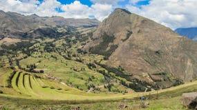 Paisaje de Pisaq, en el valle sagrado de los incas Imágenes de archivo libres de regalías