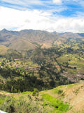 Paisaje de Pisaq en el valle sagrado del ` s de Perú de los incas Foto de archivo libre de regalías