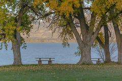 Paisaje de relajación del lago utah en Saratoga Springs fotografía de archivo