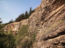 Paisaje de rocas en la costa del lago Ohrid, Macedonia Fotos de archivo