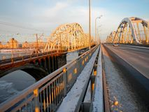 Paisaje de Sity con el puente Imagenes de archivo