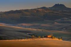 Paisaje de Toscana, Italia - de Toscana con Rolling Hills Imagen de archivo