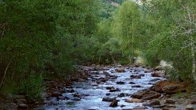 Paisaje de un río de la montaña en los Pirineos de Andorra almacen de video
