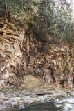 Paisaje de un río de la montaña ucrania Imagen de archivo libre de regalías