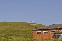 Paisaje de una casa en un fondo de montañas verdes foto de archivo libre de regalías
