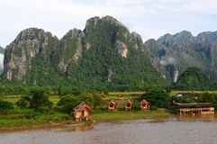 Paisaje de Vang Vieng, Laos Imagenes de archivo