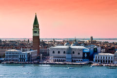Paisaje de Venecia con el campanil Imagen de archivo libre de regalías