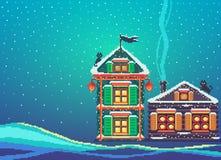 Paisaje del arte del pixel con dos casas de la Navidad Imagen de archivo libre de regalías