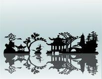 Paisaje del asiático del vector Foto de archivo libre de regalías