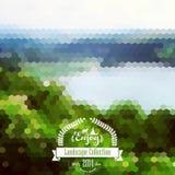 Paisaje del blure del vector con la insignia del inconformista Opinión del lago Montañas ilustración del vector