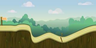 Paisaje del bosque de la historieta, fondo sin fin de la naturaleza del vector para los juegos de ordenador árbol, verde al aire  stock de ilustración