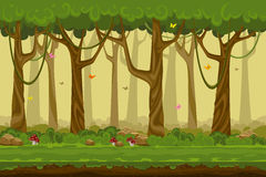 Paisaje del bosque de la historieta, naturaleza sin fin del vector Foto de archivo libre de regalías