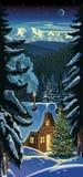 Paisaje del bosque del invierno, con una choza y un tre de la Navidad Imágenes de archivo libres de regalías