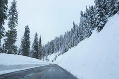 Paisaje del camino del invierno Foto de archivo