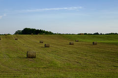 Paisaje del campo con las balas de paja Imagen de archivo
