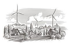 Paisaje del campo con las turbinas de viento en el ejemplo del estilo del grabado del fondo Vector Imagen de archivo