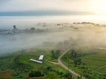 Paisaje del campo y de la montaña con la niebla suave foto de archivo libre de regalías