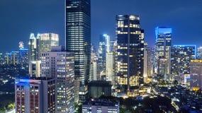 Paisaje del capital de Jakarta en la noche Fotografía de archivo libre de regalías
