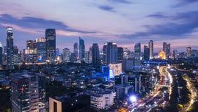 Paisaje del capital de Jakarta de un abejón Foto de archivo libre de regalías