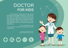 Paisaje del cartel del doctor y del fondo de los niños Imágenes de archivo libres de regalías