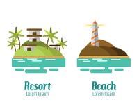Paisaje del centro turístico y de la playa Fotografía de archivo libre de regalías