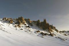 paisaje del cielo azul de la montaña de la nieve 3D Imagen de archivo