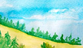 Paisaje del cielo azul y de la montaña con el bosque, campo del trigo amarillo watercolor Para las plantillas ilustración del vector