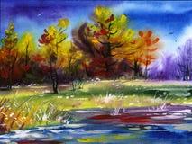 Paisaje del color de agua ilustración del vector