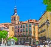 Paisaje del comandante de la plaza de la plaza principal y de la junta para el turismo de Segovia Fotografía de archivo libre de regalías