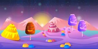 Paisaje del cuento de hadas de la historieta Ejemplo de la tierra del caramelo para el diseño de juego Fotografía de archivo libre de regalías