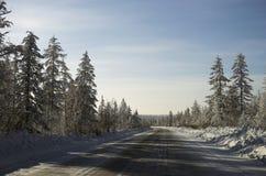 Paisaje del día de invierno con el camino Imágenes de archivo libres de regalías