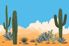 Paisaje del desierto árido Paisaje de un valle con los cactus del Saguaro Vista de montañas, fondo del cielo azul del claro stock de ilustración