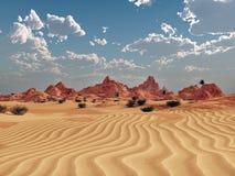 Paisaje del desierto con las montañas stock de ilustración