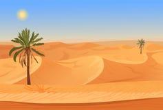Paisaje del desierto de la arena de la naturaleza de la historieta con las palmas, las hierbas y las montañas stock de ilustración