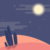 Paisaje del desierto de la noche con las siluetas de cactus bajo ejemplo plano del vector del cielo nocturno stock de ilustración