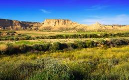 Paisaje del desierto del parque natural de los reales de los bardenas Fotografía de archivo libre de regalías