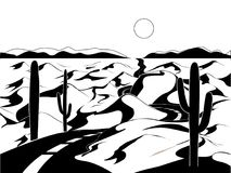 Paisaje del desierto del vector Imagenes de archivo