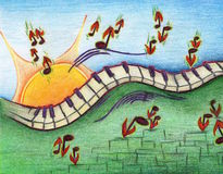 Paisaje del dibujo del piano Imágenes de archivo libres de regalías