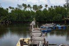 Paisaje del embarcadero de madera del abandono que cruza el río Sol brillante Imagen de archivo