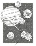 Paisaje del espacio con Júpiter y la nave espacial Fotos de archivo libres de regalías
