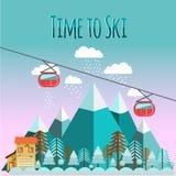 Paisaje del esquí en estilo plano