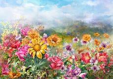 Paisaje del estilo multicolor de la pintura de la acuarela de las flores Imagen de archivo