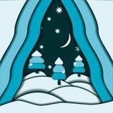 Paisaje del extracto de la nieve de la Navidad Foto de archivo